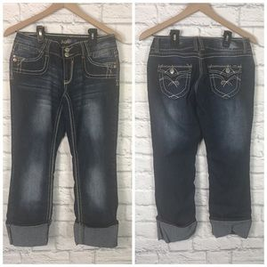 Angels Cuffed Cropped Dark Wash Jeans Size 9